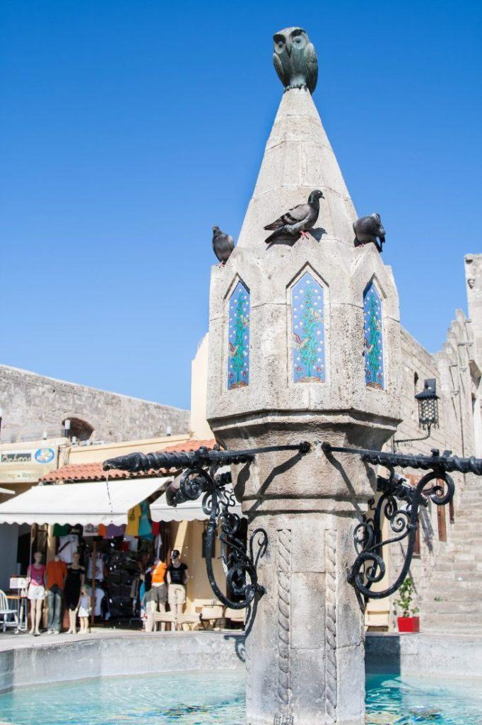 The owl fountain in old Rhodes town.