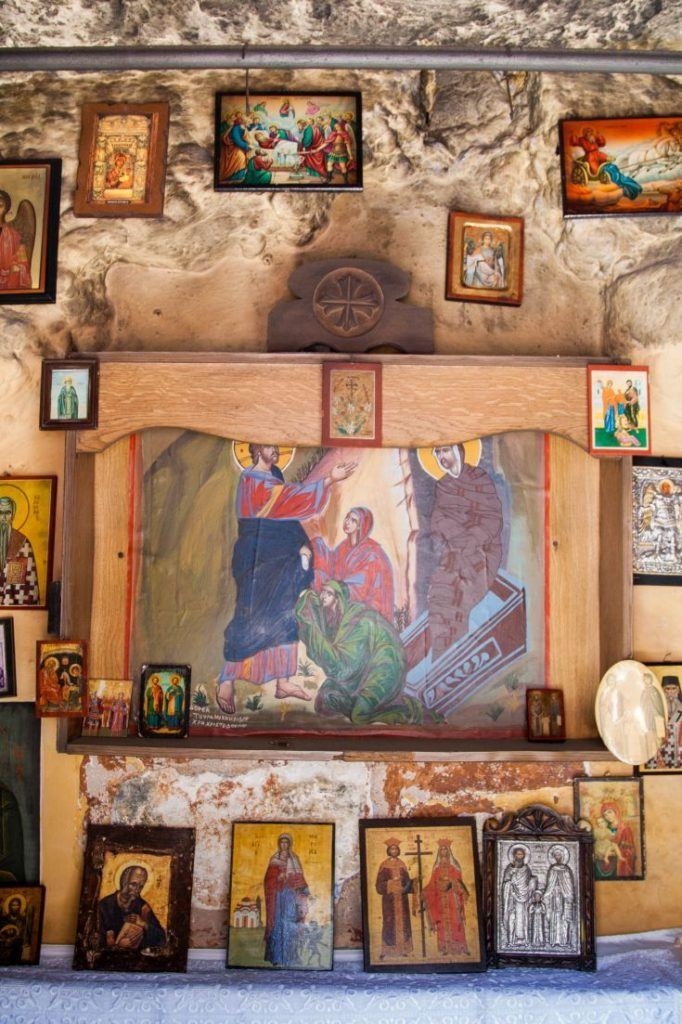 Display of old Greek religious paintings and icons.