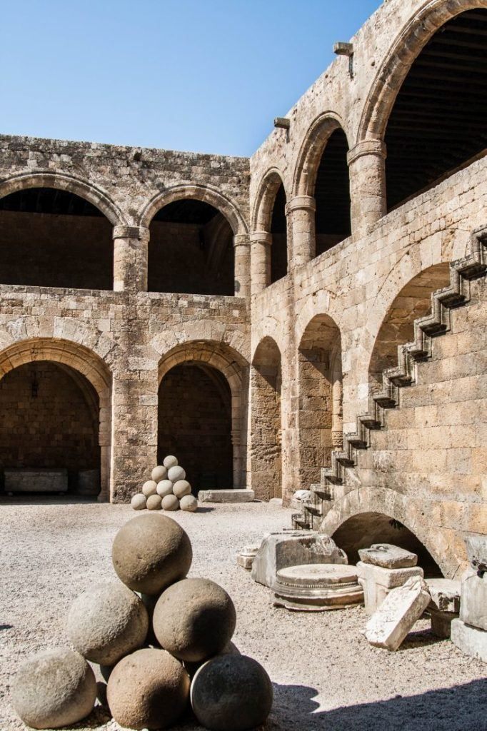 Inside courtyard of the ancient Rhodes defensive structures.