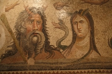 A mosaic of Zeus located in the Gaziantep Archeology Museum.