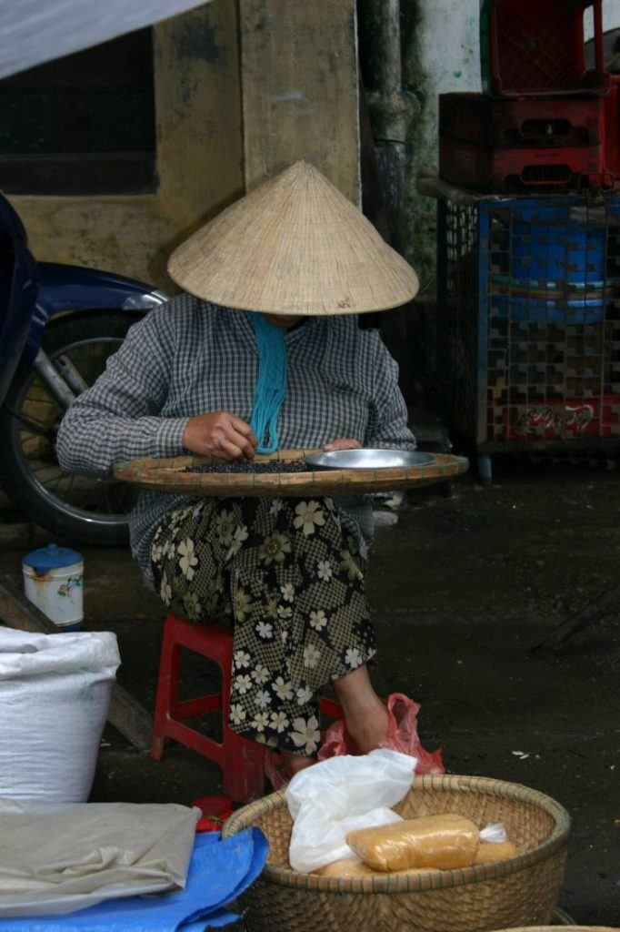 Vietnamese woman with traditional straw hat sorts beans in a basket.