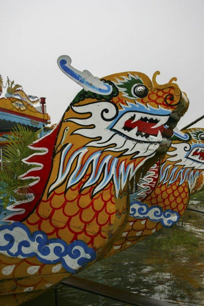 Dragon head on the prow of a riverboat in Hue.