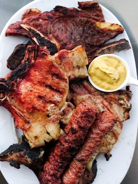 Meshana Skara or Mixed Grill. It has lamb, pork, beef, and of course kebapche.
