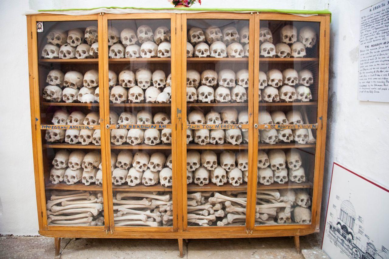 Bones and skulls in a cupboard in Nea Moni Monastery.
