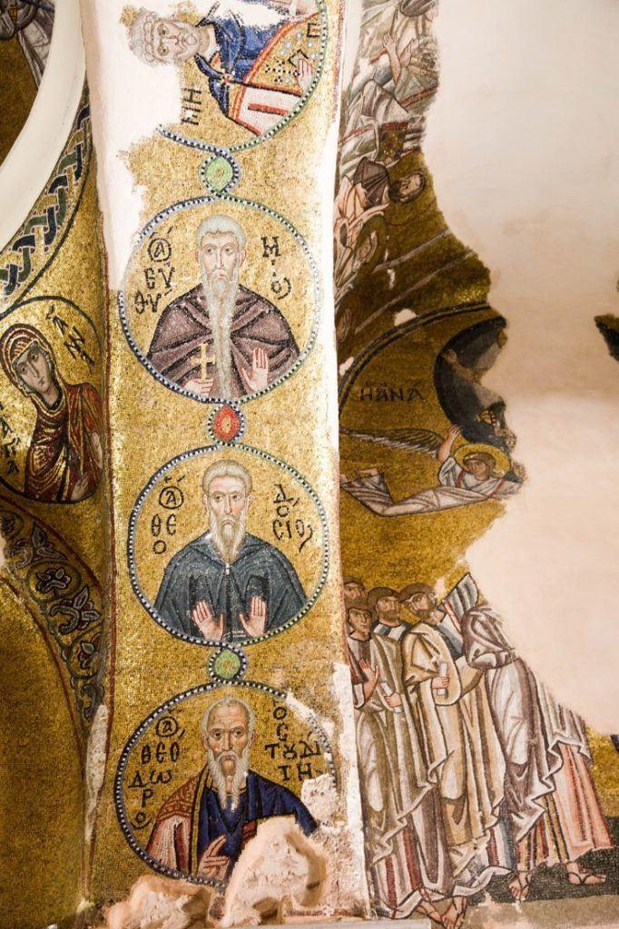 Mosaic showing saints in Nea Moni Monastery, Chios.