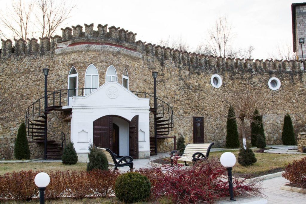 Entrance to Milestii Mici wine cellars in Moldova.