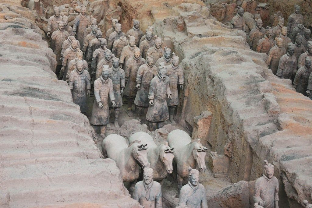 Clay horses and soldiers stand at attention on our first stop of our Xian itinerary.