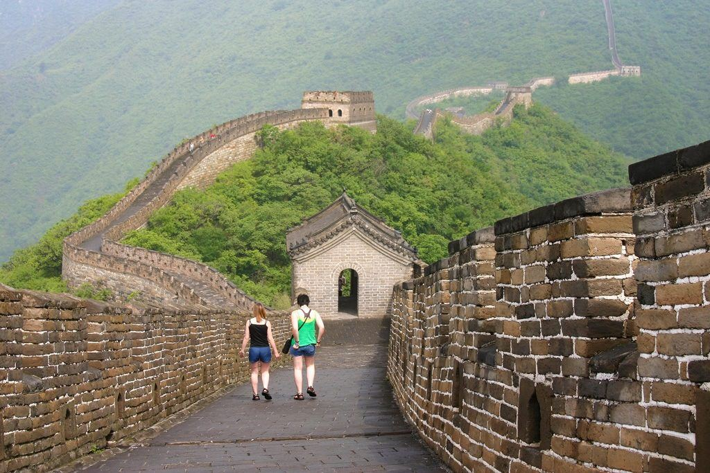 Walking on the Great Wall of China.