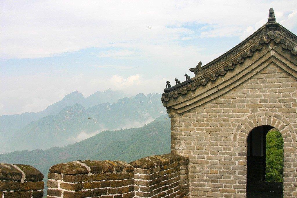 A sentry's hut on the Great Wall of China near Mutianyu.