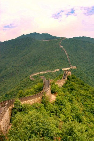 A long look uphill as the Great Wall winds up one mountain.