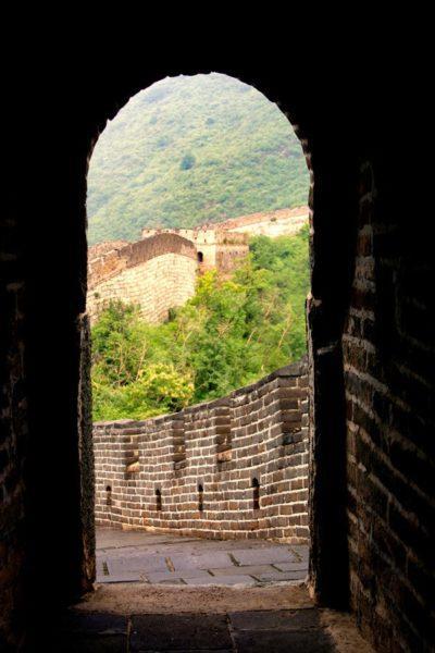 Peeking at Greatness....the wall of China at Mutianyu.