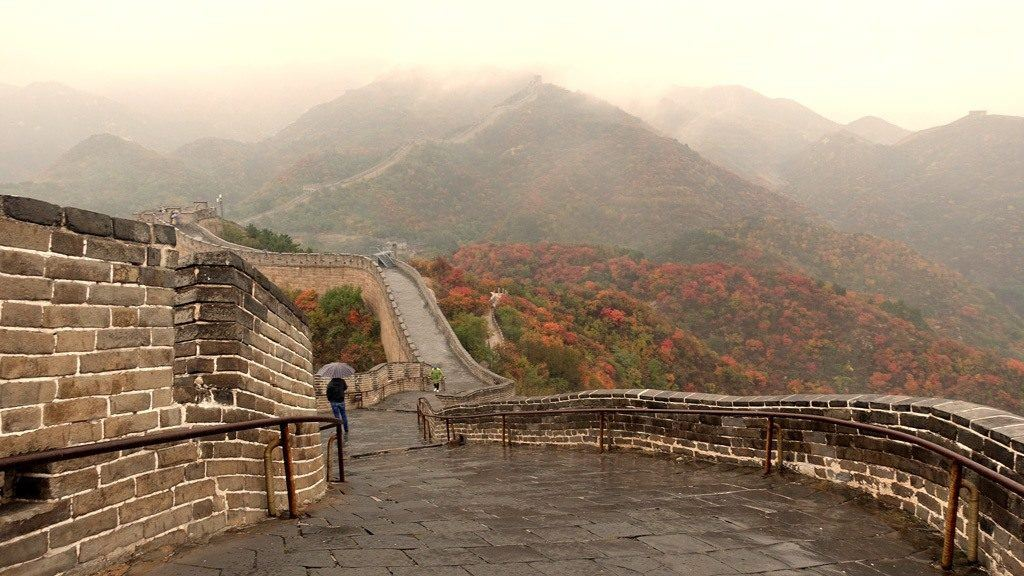 The Great Wall of China at Mutianyu in the fall.
