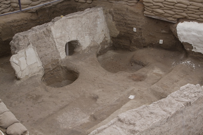 Houses in the city of ancient Catalhoyuk, Turkey.