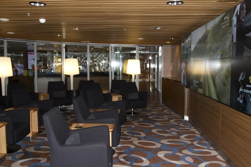 In the lounge on the Stena Line ferry from Kiel to Gothenburg.