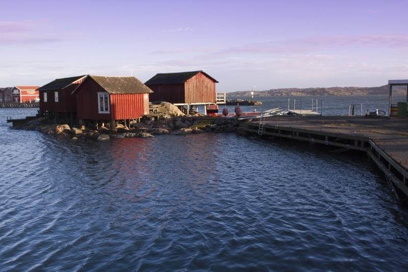 Boat houses in Kallo Knipla, Sweden.