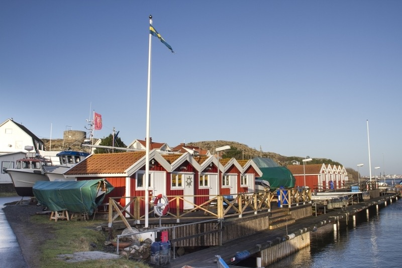 Seafront cottages in Hyppeln, Sweden.