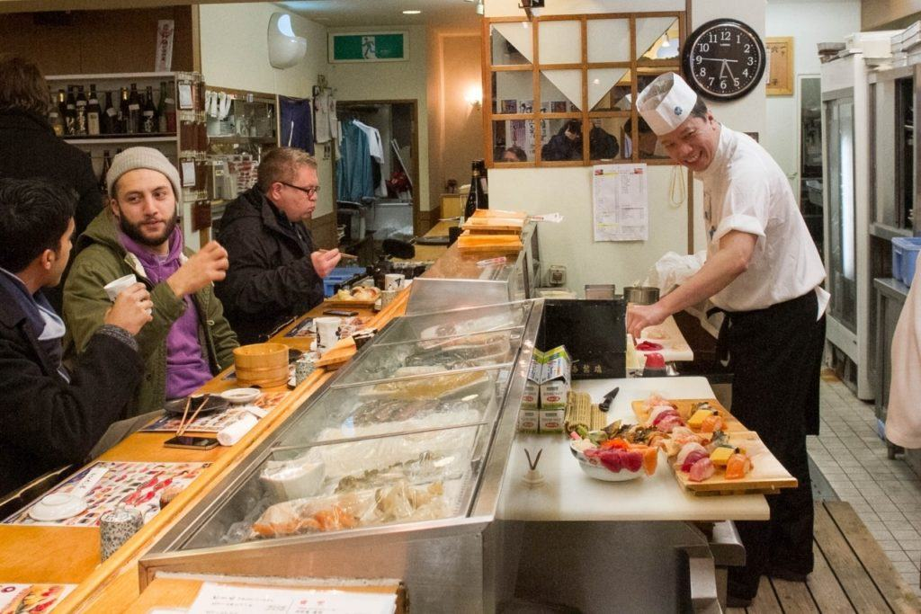 Sushi restaurant selling all the freshest fish. That's what you eat at the Tsukiji Fish Market.