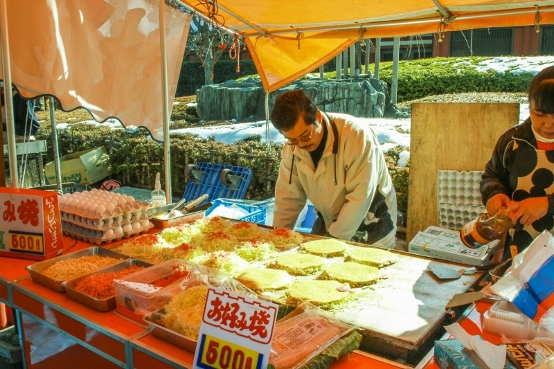 Okonomiyaki can be found at almost every festival.
