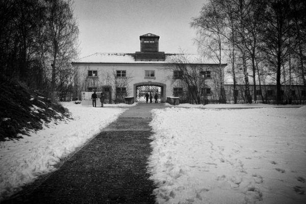 Entering Dachau Concentration Camp.