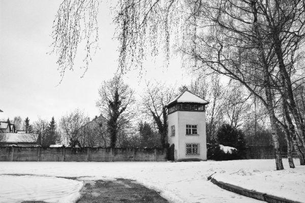 A guard tower at Dachau.