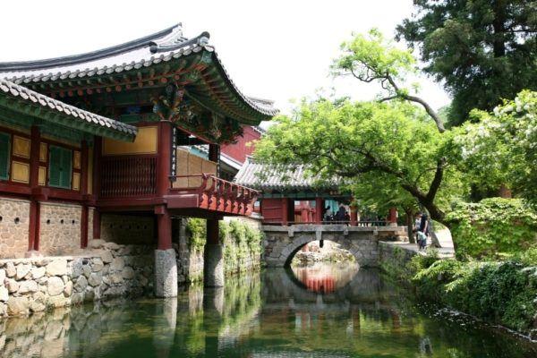 Songgwangsa Temple and moat, South Korea.