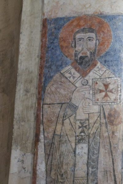 There are many frescoes, like this one of a saint, in the Akdamar Armenian Cathedral.
