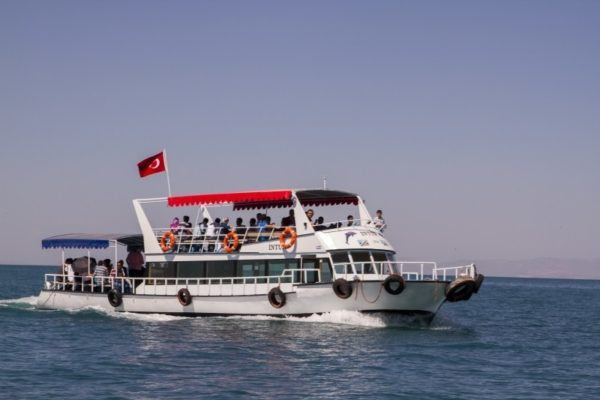 Riding the boat out to the Akdamar Island on Lake Van.