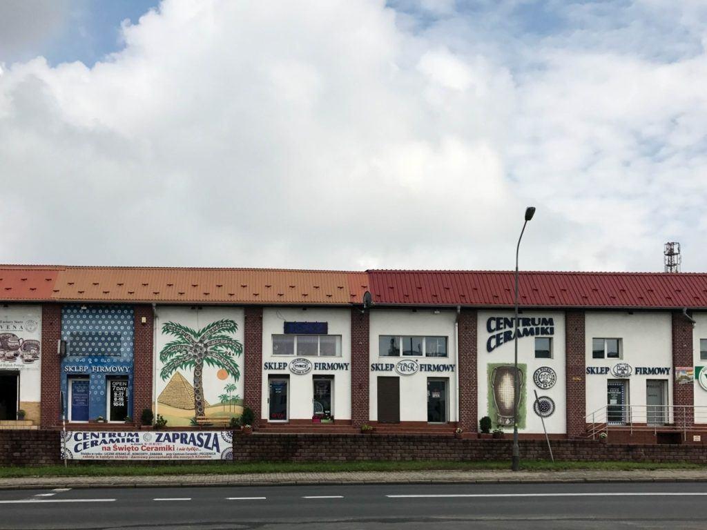 "Polish pottery shops in a Boleslawiec ""strip mall""."