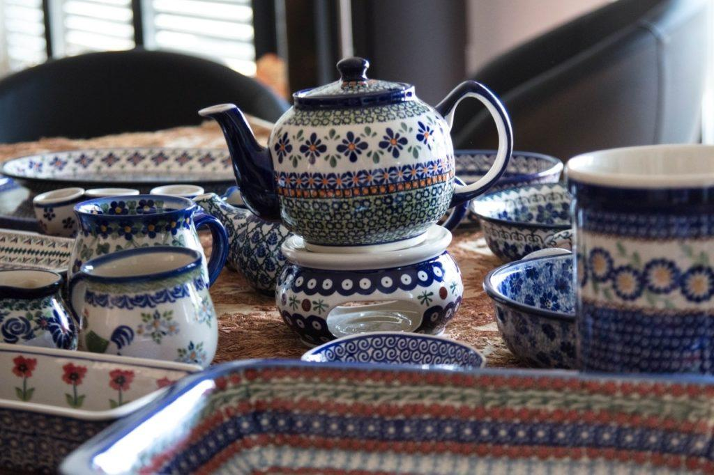 Various pieces of hand painted Polish Pottery ceramics.