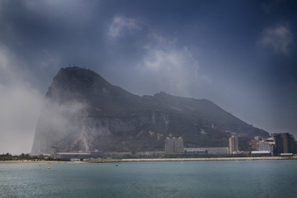 View of The Rock of Gibraltar from the Tangiers ferry.