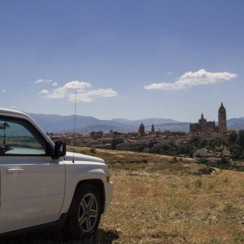 Driving in Spain is surprisingly easy, especially when we get views of Segovia.