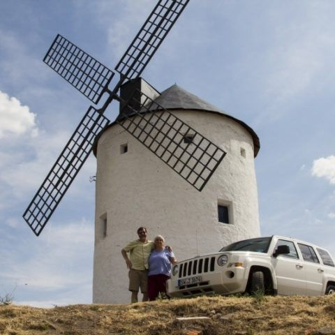 Our jeep parked right up by one of Spain's iconic windmills.