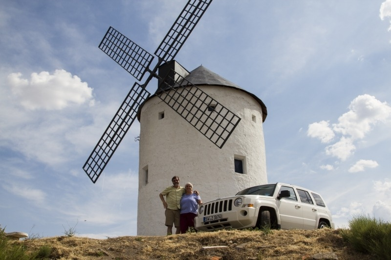 One of the beautiful whitewashed windmills seen on our drive through Spain.