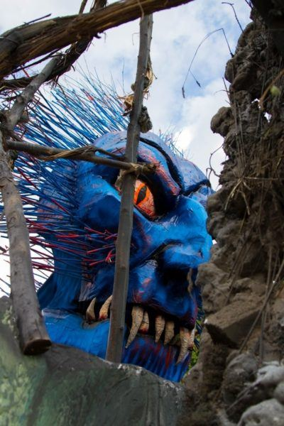 Scary blue face on one of the floats.