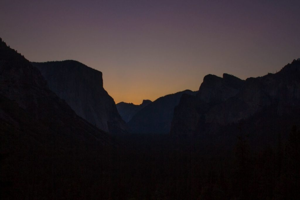 Sunset and evening glow from Yosemite Valley.