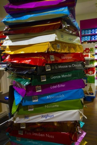 Larger than life Ritter Sports bars.