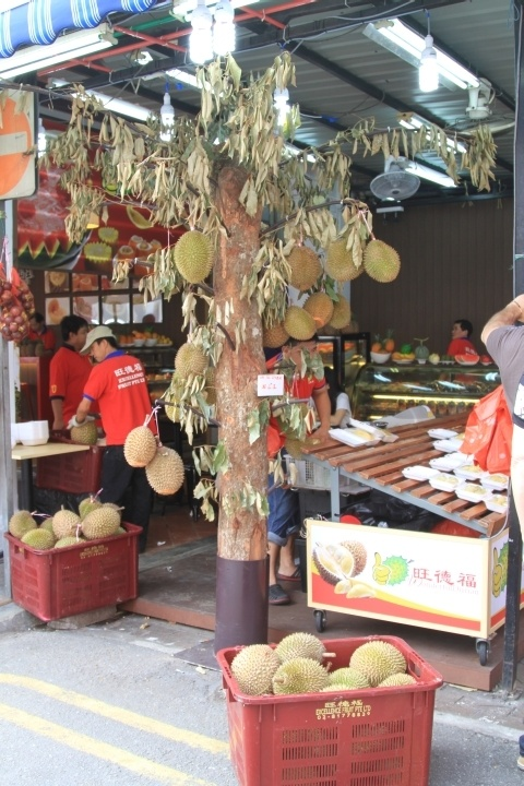 The front of a durian shop in Singapore's Chinatown.