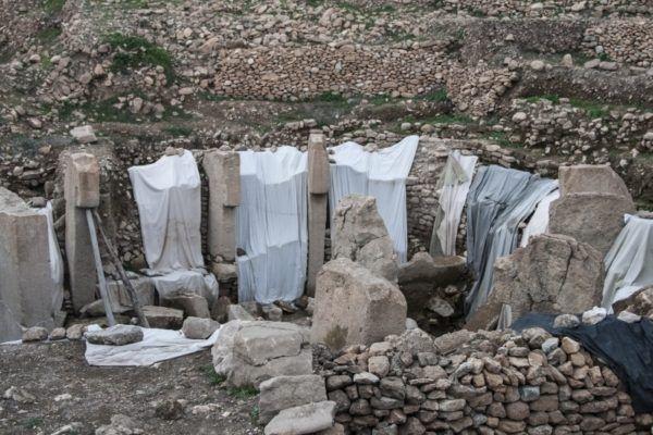 Gobekli Tepe under wraps in between archaeological dig seasons.