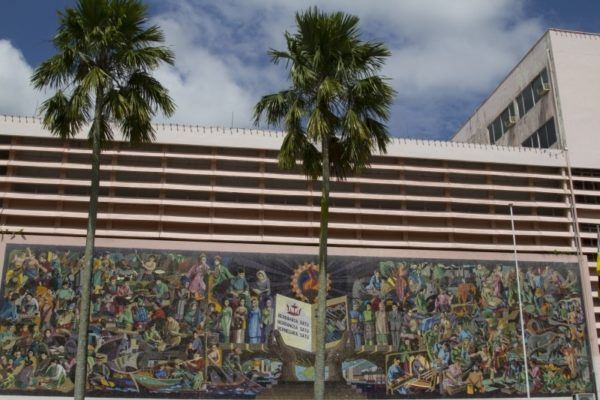Beautiful mosaic mural outside the Brunei National Library.