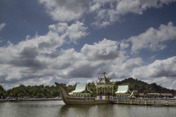 Bahtera Kenaikan Diraja, The Ark of the Royal Ascension, at the Omar Ali Saifuddien Mosque, Brunei.