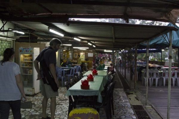 Covered awnings will protect you from sudden downfalls in Brunei's hawker stall centers.