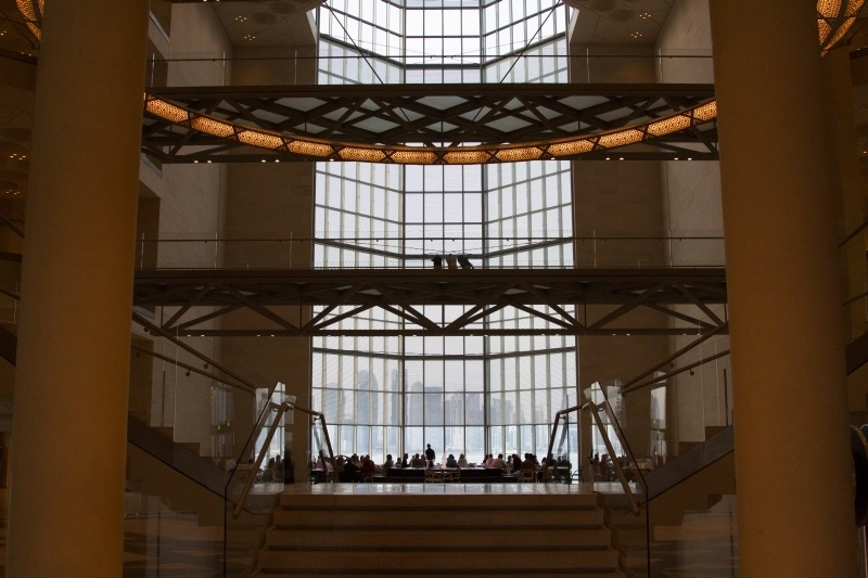 Museum Islamic Art Doha - view from entryway lets you look through the restaurant at the fantastic view