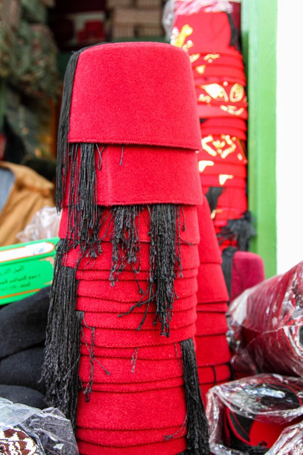 A shop selling the traditional Tunisian fez in the Tunis souk.