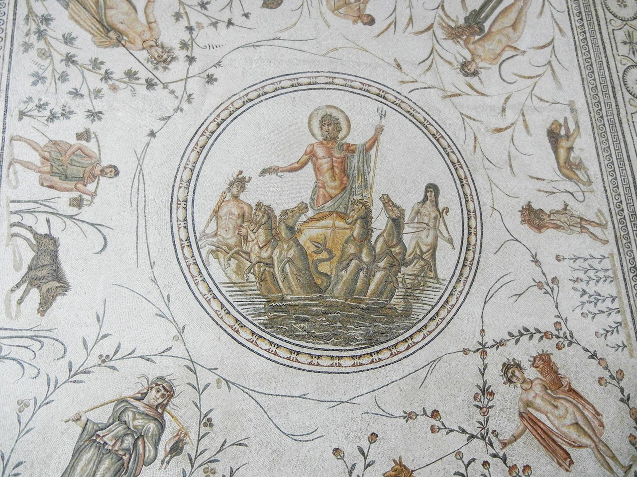 One of the many amazing Roman mosaics to be found at the Bardo Museum in Tunis...a must do.
