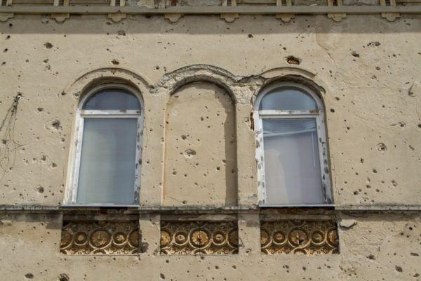 Bullet riddle walls in Bosnia.