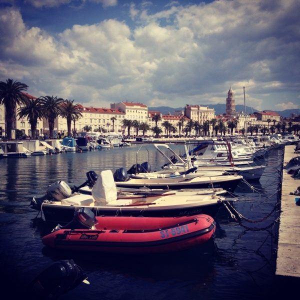Small boat harbor in Split, Croatia.