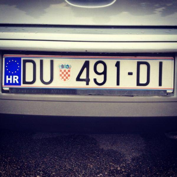 Croatia license plate.