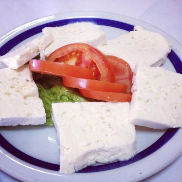 Croatian salad, cheese and tomatoes.