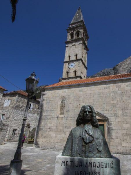 Statue of Matija Smajevic in Perast, Montenegro.