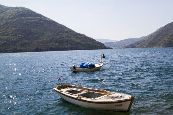Small fishing boats in the bay of Kotor.